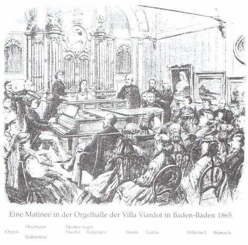 Concert in het operahuis van Pauline Viardot in Baden-Baden (houtsnede van Ludwig Pietsch, 1865).