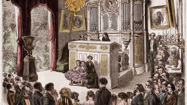 Pauline Viardot aan haar orgel van Cavaillé-Col in haar salon in de rue de Doaui in Parijs (gravure van 1858).